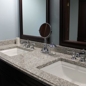 Twin Sink Bathroom Granite Countertop, Color: Luna Pearl