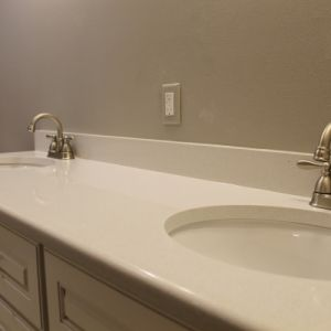 Quartz Bathroom Countertop, Color: White